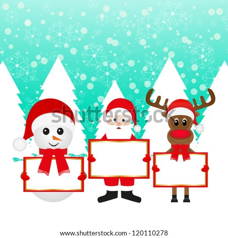 Santa Claus Christmas reindeer and snowman in a fairy forest with banners - stock photo