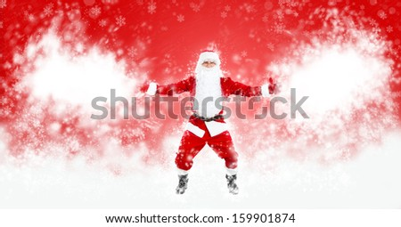Santa Claus Christmas sale background with blank empty copy space for text over abstract magic snow blow red background with sparkles, concept of new year shopping - stock photo