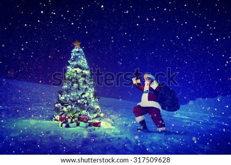 Santa Claus Christmas Tree Concept - stock photo