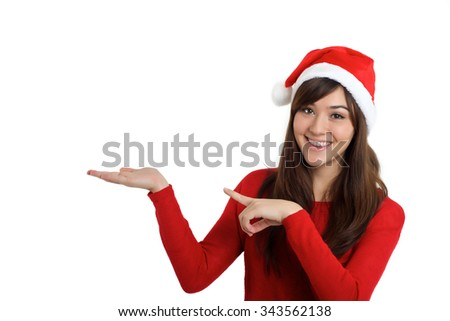 Santa Claus Christmas Woman pointing product on white background - stock photo