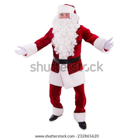 Santa Claus dancing. Isolated on white background - stock photo