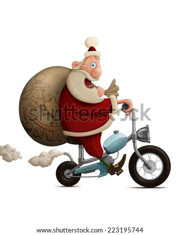 Santa Claus delivery the gifts with motorcycle