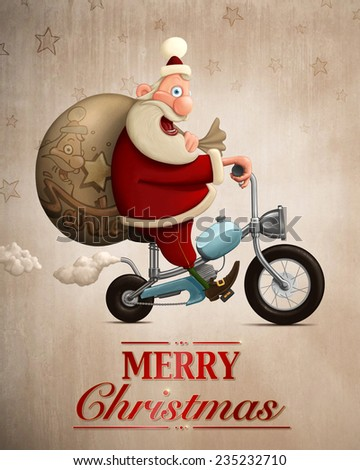 Santa Claus delivery the gifts with motorcycle Greeting card - stock photo