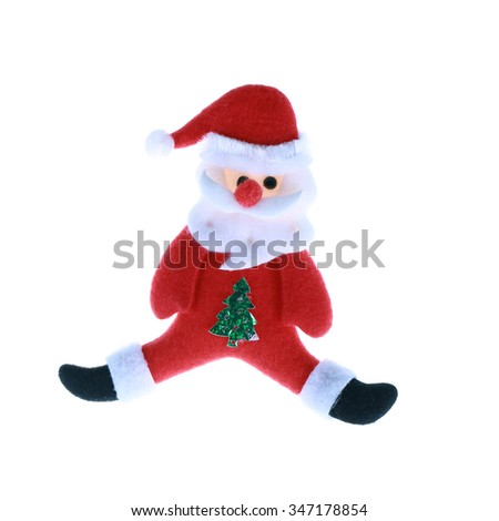 Santa Claus doll  isolated on white.Clipping path. - stock photo