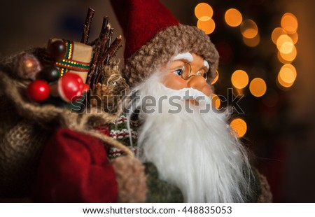Santa Claus Doll Bag Gifts Symbolizes Stock Photo Royalty Free