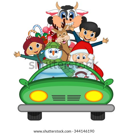 Santa Claus Driving a Green Car Along With Reindeer, Snowman And Brings Many Gifts Illustration
