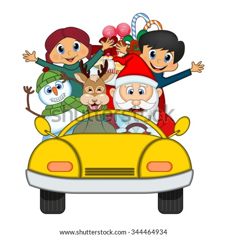 Santa Claus Driving a Yellow Car Along With Reindeer, Snowman And Brings Many Gifts Illustration