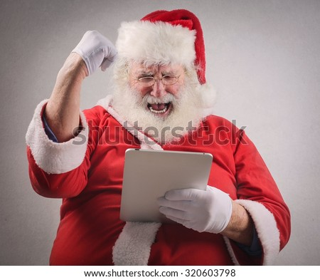Santa Claus exulting for some reason - stock photo