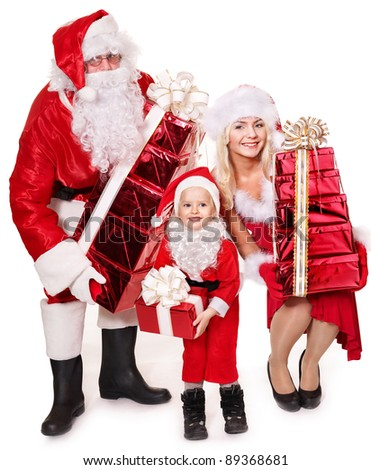 Santa claus family with child holding stack gift box..  Isolated. - stock photo