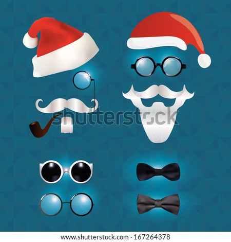 Santa Claus fashion set hipster style, illustration icons - stock photo
