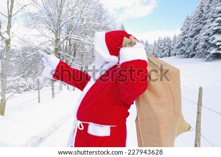 Santa Claus, Father Christmas in a beautiful winter landscape - stock photo