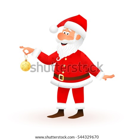 Santa Claus flat character isolated on white background. Standing funny old man is holding yellow Christmas ball with snowflake and smiling. Christmas and New Year cartoon  illustration.