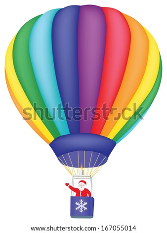 Santa Claus flying on air balloon over white
