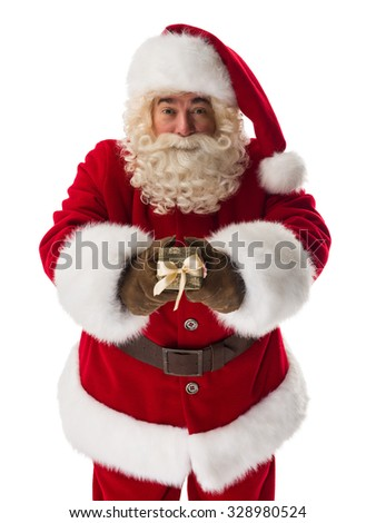 Santa Claus giving small gift box to camera Closeup Portrait