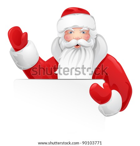Santa Claus greeting. Illustration of a Christmas theme for design