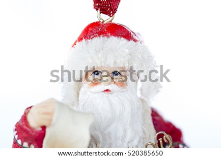Santa Claus hanging bauble ornament isolated background on white