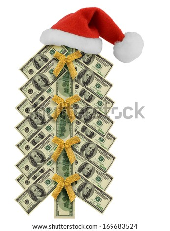 Santa Claus hat and gold bow in money tree christmas from usa dollars isolated on white background - stock photo