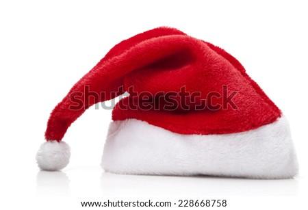 Santa Claus Hat on white background - stock photo