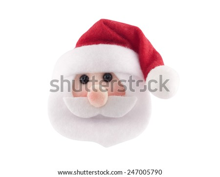Santa Claus head isolated on white background - stock photo