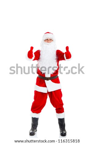 Santa Claus hold hand show thumb up finger gesture, full length portrait, isolated on white background, merry christmas time and happy new year - stock photo