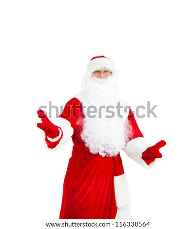 Santa Claus hold hands welcome gesture, isolated on white background, concept of merry christmas time and happy new year
