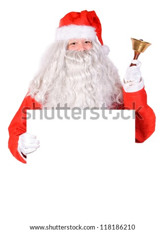 Santa Claus holding a blank sign - stock photo
