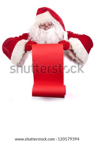 Santa Claus holding a red scroll and reading a christmas checklist, isolated on white background