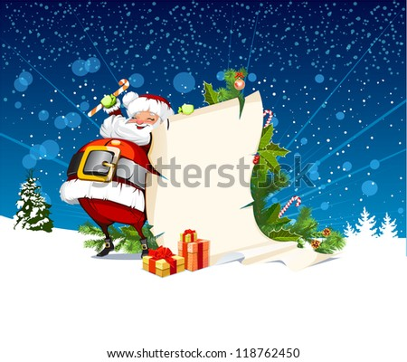 Santa Claus holding a roll of gift - stock photo