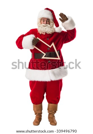 Santa Claus holding an arrow Full Length Portrait Isolated on White Background