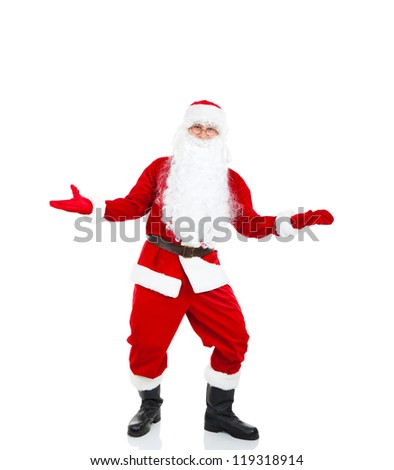 Santa Claus holding Banner hold point open palm, with blank empty copy space for Text isolated over white background, concept of christmas new year sale shopping - stock photo