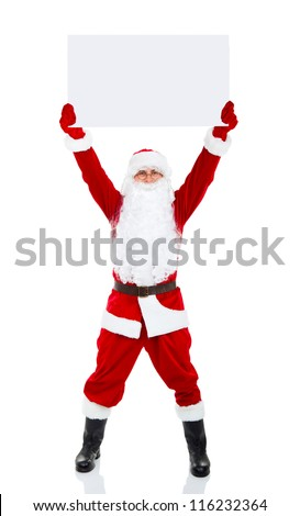 Santa Claus holding Banner raised arm hand over head, white board with blank empty copy space for Text isolated over white background, concept of christmas new year sale shopping - stock photo