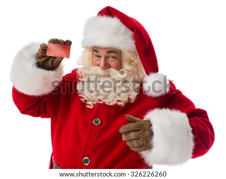 Santa Claus holding blank business card. Portrait Isolated on White Background - stock photo