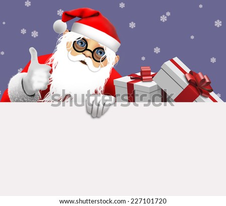 Santa Claus holding blank sign.