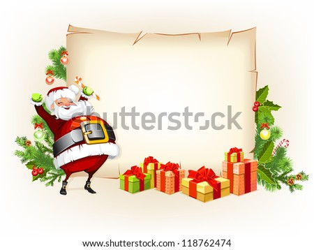 Santa Claus holding candy and standing beside scroll for gifts - stock photo