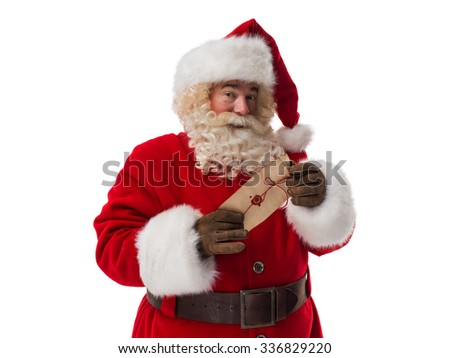 Santa Claus holding letter with his official stamp Closeup Portrait - stock photo