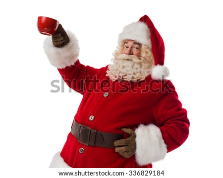 Santa Claus holding red cup Closeup Portrait isolated on White Background - stock photo
