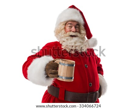 Santa Claus holding vintage wooden beer cup Closeup Portrait. Isolated on White Background