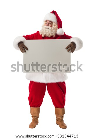 Santa Claus holding white blank sign Full Length Portrait. Isolated on White background