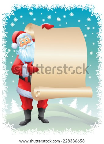 Santa claus holding wishlist with christmas background