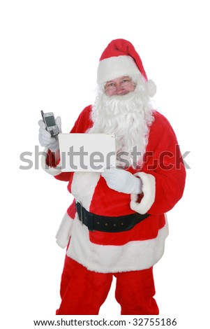 santa claus holds a blank sign and a cell phone           isolated on white     with room for your text - stock photo