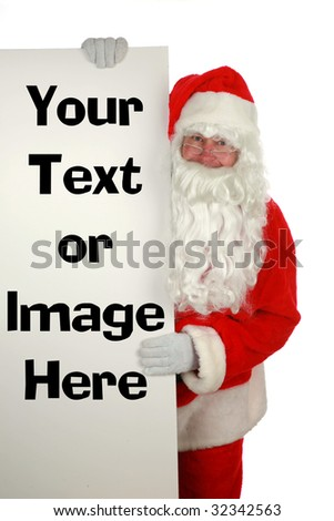 santa claus holds a blank sign isolated on white  with room for your text