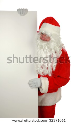 "santa claus holds a blank sign  ""isolated on white  with room for your text"