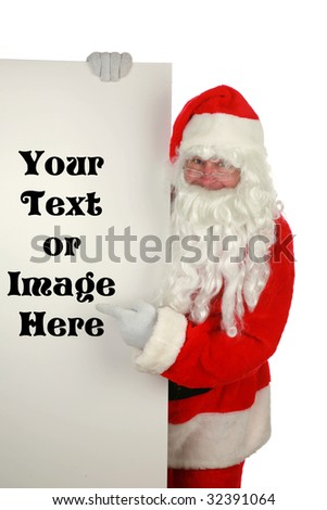 "santa claus holds a blank sign  ""isolated on white  with room for your text - stock photo"