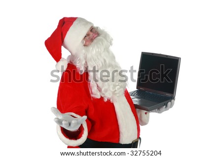 "santa claus holds a lap top computer and makes hand gestures ""isolated on white"" with room for your text"