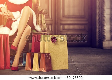 santa claus home interior with old big doors and few bags and xmas time and holiday time  - stock photo