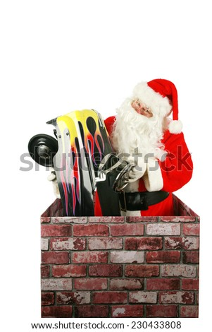 Santa Claus in a Chimney. Santa Claus enters a house through a chimney to deliver a Pedal Car as a Christmas Present to some lucky little boy or girl. Christmas time is enjoyed by people everywhere. - stock photo
