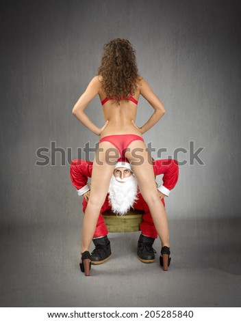 Santa Claus in a night club situation - stock photo