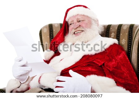 Santa Claus in authentic costume. All on white background.