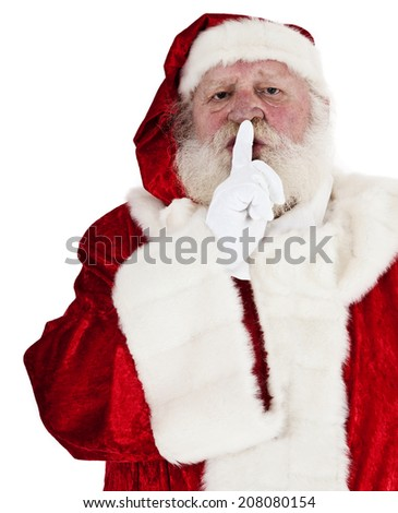 Santa Claus in authentic costume. All on white background. - stock photo