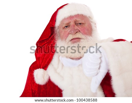 Santa Claus in authentic look showing thumbs down. All on white background.